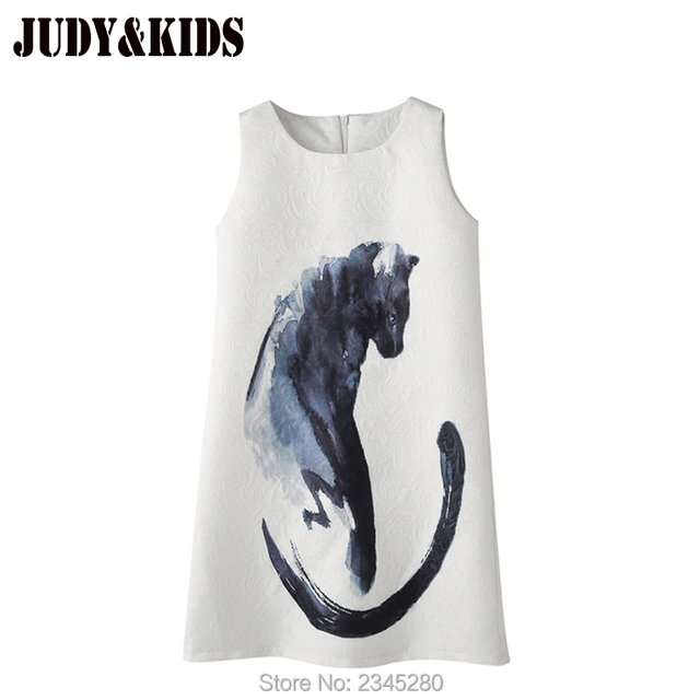 Dresses Girl Cat Print European Kid Princess Clothes Child Party Teenager Clothing Summer New Year 2017 Dress For Girls 10 Years