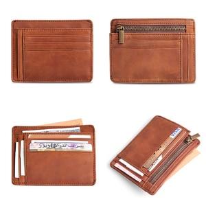 Image 5 - Cobbler Legend Thin Genuine Leather Card Wallet Men Bank Purse New Coin Bag Mini Wallet Id Holder Women Travel Pocket Wallet