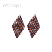 Vintage 925 Sterling Silver Rhombus Leverback Earrings with Red Cubic Zirconia for Women Girls Free Shipping