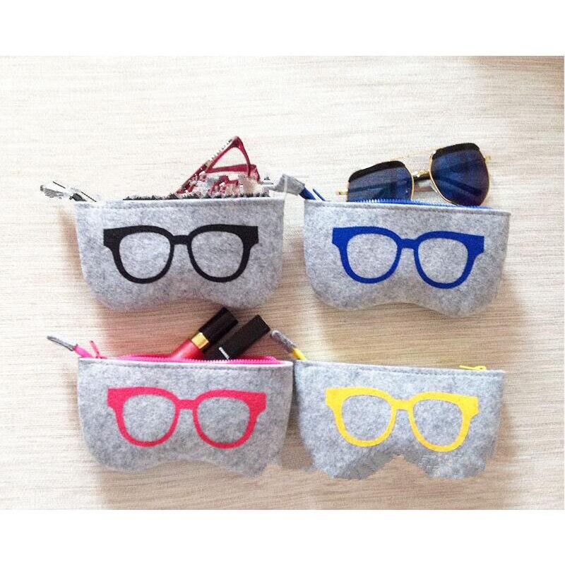 4 Colors Exquisite Wool Felt Cloth Eyeglass Case Women Sunglasses Boxes Children Zipper Bag 20PCs/Lot Free Shipping