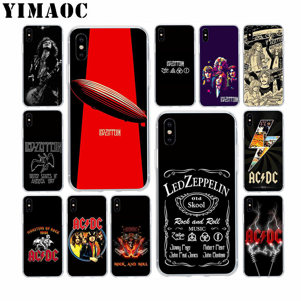 YIMAOC Led Zeppelin ACDC Bands Soft Silicone Case for Apple Iphone ...