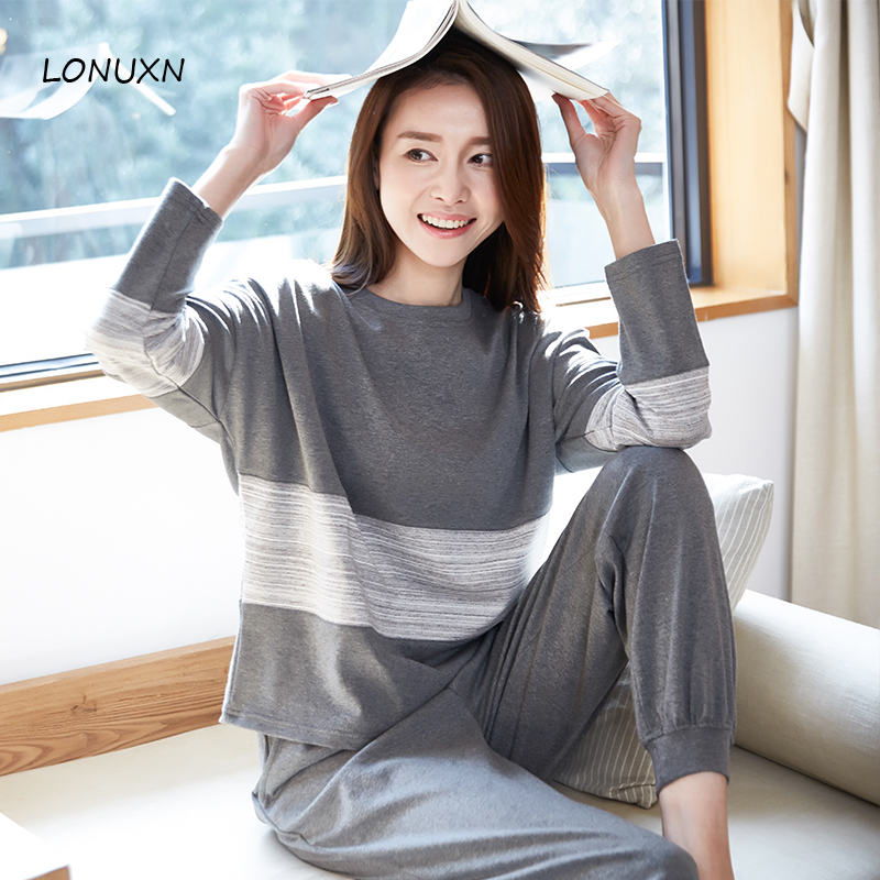 high quality 2 pieces winter women casual pajamas cotton long sleeved home service new fashion simple loose cotton home clothing