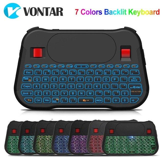 VONTAR Retroilluminazione T18 Più Inglese Russo 2.4G Wireless Fly Air Mouse Tastiera Retroilluminata Touchpad Controller per Android TV Box