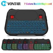VONTAR retroiluminación T18 Plus, teclado inalámbrico en inglés y ruso, 2,4G, ratón antimoscas con retroiluminación, mando táctil para Android TV Box