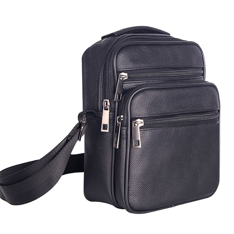 Mens Leather Small Messenger Bag Satchels Multifunctional Crossbody Shoulder Bag for Travel Casual Male Zipper Pouch Phone Bag multifunctional pu leather zipper decor shoulder bag