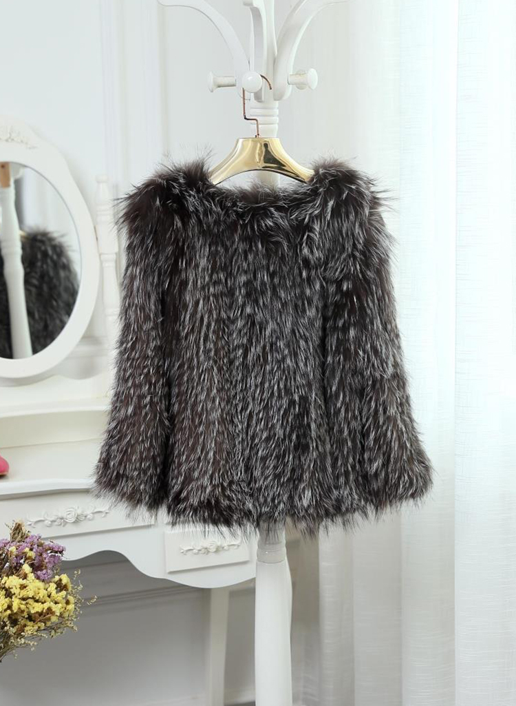 2015 New Arrival 100% Natural Silver Fox Fur Knitted Coat, Women's Real Fox Fur Outerwear SU-1521 EMS Free Shipping 12