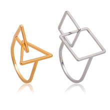 ew Arrival Simple Geometric Decorative Pattern Triangle Rings for Women Bague Femme Midi Wedding Band Jewelry Men(China)