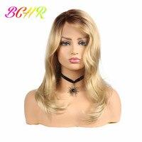 BCHR 24 дюйма блондинка синтетический Синтетические волосы на кружеве парик с Омбре парик для Для женщин длинные волнистые, устойчивые к нагре...