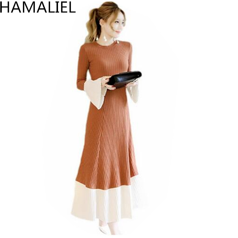 HAMALIEL New 2018 Runway Autumn Winter Flare Sleeve Long Sweater Dress Women Patchwork Big Swing Knitted Ladies Casual Clothes long sleeves layered swing sweater dress