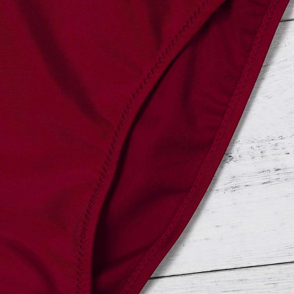 ファッション女性のセクシーなワンピース水着ホットワイン赤ビキニプッシュアップパッド入り水着水着カジュアルビーチウェア