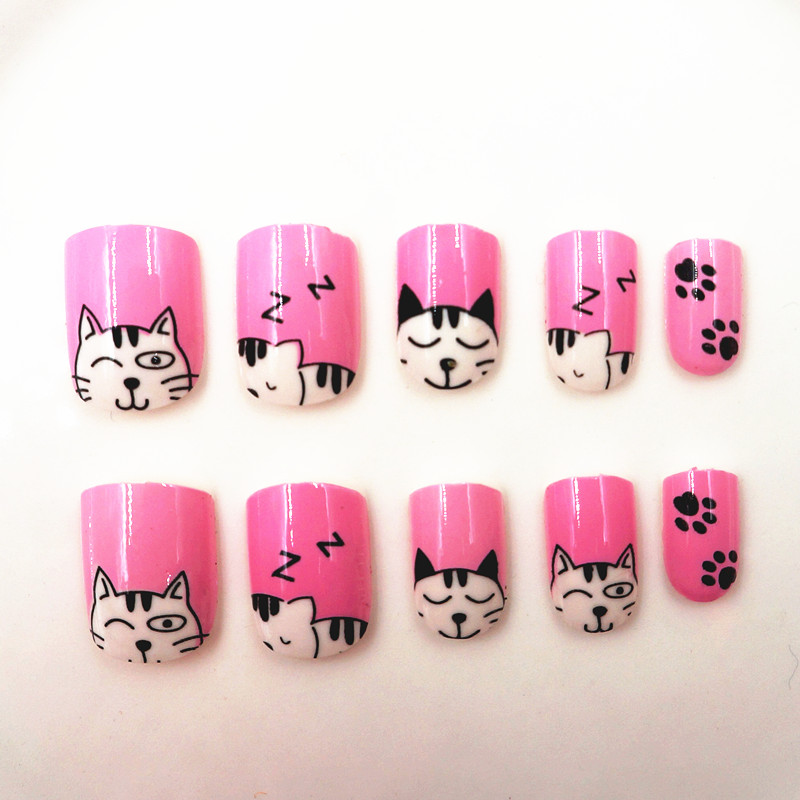 24pcs Press on Kids False Nail Tips Cartoon Cat Full Cover Pink Fake ...