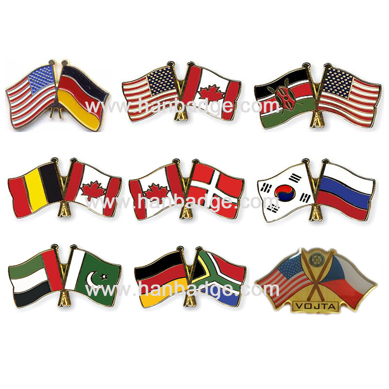 custom flag pins customized country pins badges custom lapel pins custom double flag pins in