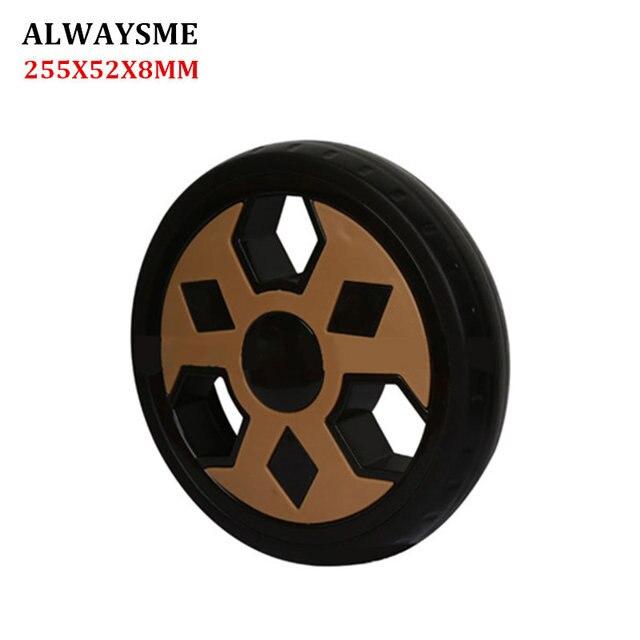 ALWAYSME 1 piezas para cochecito de bebé para niños piezas de repuesto para ruedas de cochecito rueda delantera Universal diámetro de la rueda trasera 255mm ancho 52mm agujero 8mm