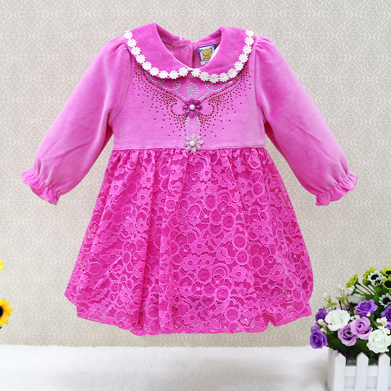 2017 New Arrival Long Sleeve Girls Dresses velour baby clothes Cotton Lace One Piece Knee-Length Infant Flower Cute Dress kids baby girls long sleeve lace dresses one piece dots deer cotton girl dresse toddlers clothes