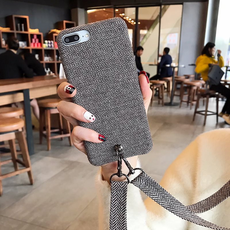 Fuzzy Phone Case For Iphone XS Max Case Retro Soft Cloth Skin Cover Solid Color Cases For Iphone 6 6S 7 8 Plus X XR With Straps