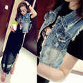 2016 spring stylish women's short denim vest jeans women coat plus women tops casual colete feminino