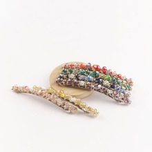 1PC Fashion Women Crystal  Colorful Elegant Rhinestone Shiny Metallic Simple Sense hairpins Hairclip Hair Accessories For Girl