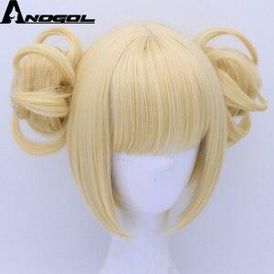 Image 3 - Anogol двойной хвост аниме My Hero Academy химико Тога крест мое тело короткий прямой блонд Синтетический Косплей парик для Хэллоуина