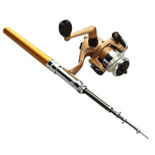 Wholesale prices 8 Pack Good deal Telescopic Fishing Rod Pen Shape portable 1M and Reel Spool Thread starter