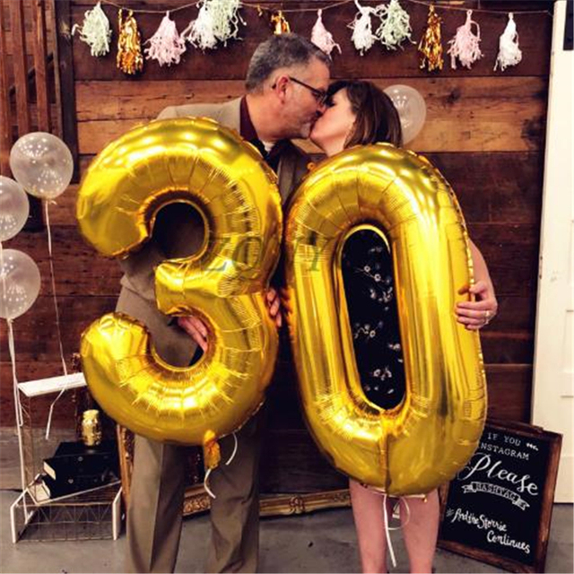 2 قطعة 32 أو 40 بوصة عيد ميلاد سعيد 30 احباط بالونات الوردي الأزرق الذهب عدد 30th سنة زخارف حفلة رجل صبي فتاة لوازم
