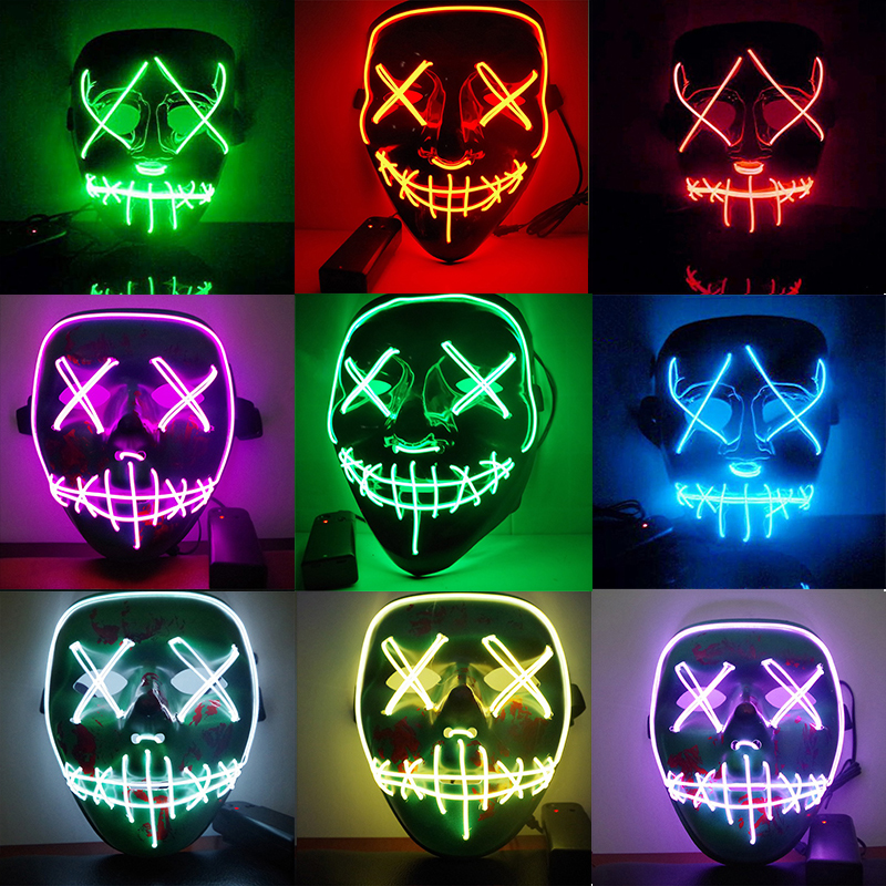 Halloween LED Costume Mask Cosplay Funny Mask Full Face Covered EL Wire Light Up for Festival