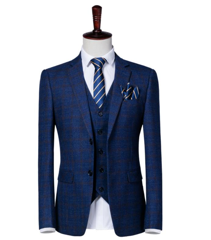 Hommes Plaid De 2019 Costume Pantalon Gilet Same Maigre Suit Fit Sur Mariage Mesure Smoking Picture As veste D'affaires Bleu Rayé Mode wq1YIn