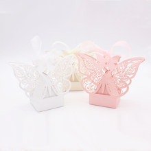 50pcs Butterfly paper candy Box Chocolates Gift Bag Packaging for wedding birthday baby shower party Christmas favors(China)
