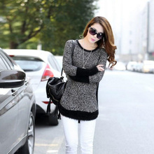 2015 Hitz women's round neck pullover sweater female hit color loose sweater Ms. long Fashionable and handsome jacket