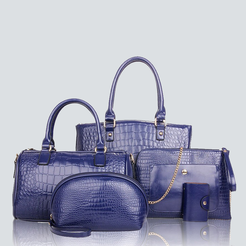 Luxury handbag set 5pcs Fashion Women Alligator pattern Shoulder/Crossbody/Composite Bags Female PU leather Clutches chains Tote barhee new stone pattern pu leather women messenger bag crossbody shoulder bags for girls luxury design alligator handbag female