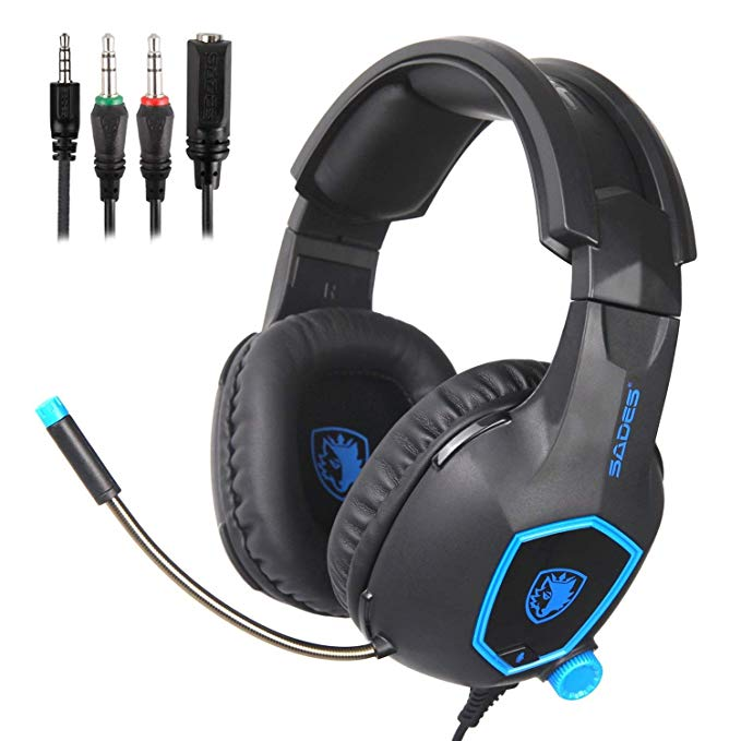 SADES SA818 Gaming Headset Headphones 3.5mm Stereo Headphones For PS4/Xbox One/PC/Cell Phone/Laptop Mac