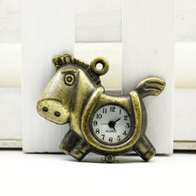 New Arrive Small Size Bronze Horse Pocket Watch Necklace For Gift pocket watch steampunk quartz watch