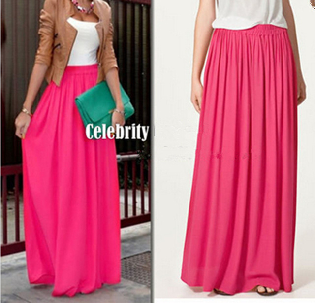 Plus Size Long Skirt Elegant Style Women Pleated Maxi Chiffon Skirts - Pakaian wanita - Foto 2