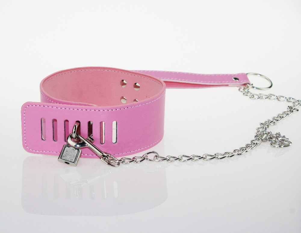 Buy Pink Leather lock catch Bdsm Fetish Bondage Sex Collar Leash Adult Game Collars Sex Toys Slave Collar Erotic Neck Collar