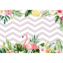 Laeacco Photo Backgrounds Flamingo Chevrons Stripes Baby Birthday Party Palm Tree Leaves Poster Backdrop For Studio