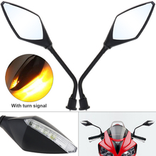 2pcs Black Motorcycle LED Turn Signals Rearview Sport Bike Mirrors for Motorbike