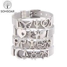 Somsoar ювелирные изделия серебряный браслет из нержавеющей стали с сеткой Браслеты Новое поступление слайд талисманы браслеты как женщина лучший подарок