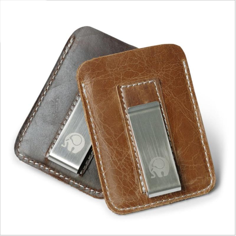 1Pcs New Money Slip Metal Short Wallets Male Slim Clutch Genuine Cowhide Leather Money Clip Wallet Men Mini Convenient Purse