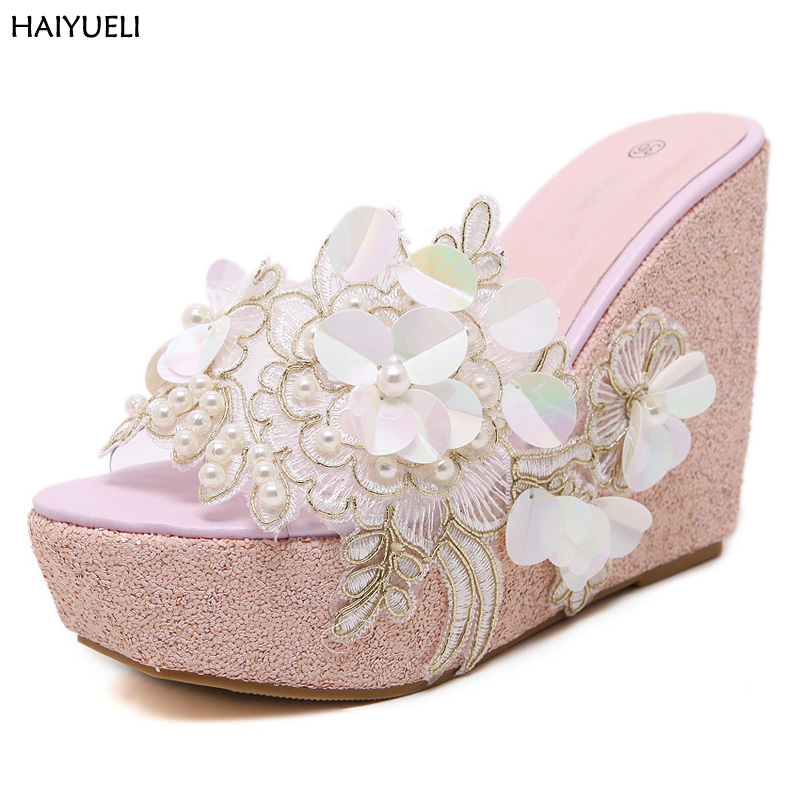 Summer sandals Beaded flowers platform wedges women slippers fashion flip flops hot bohemian national style women sandals new 2017 fashion women sandals summer style wedges women s sandals platform black slippers flip flops open toe high heeled