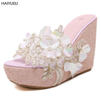 Summer Sandals Beaded Flowers Platform Wedges Women Slippers Fashion Flip Flops Hot Bohemian National Style Fashion