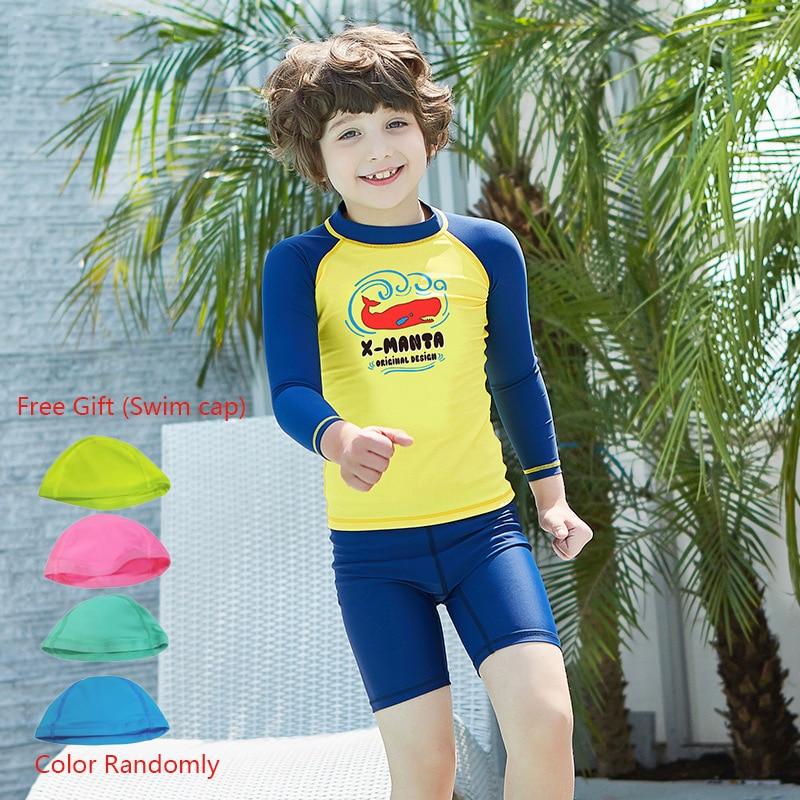 2pcs Boy Swimsuit Kids Swimwear Quick Dry UPF50+ Swimming Skinsuits Kids Rash Guard Surfing Suit Beachwear Bathing Suit