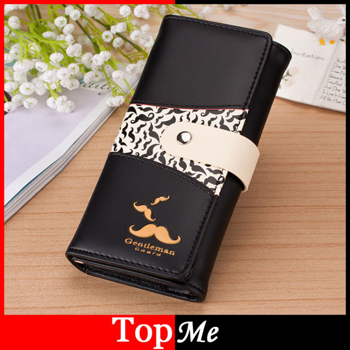 Brand Women Wallets Mustache Pattern Lady Handbags Coin Purse Hasp Moneybags Cards ID Holder Long Woman Clutch Wallet Burse Bags kimocat boy and girl high quality spring autumn children s cowboy suit version of the big boy cherry embroidery jeans two suits