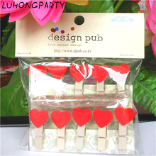 10PCS Love Heart Wooden Clothespin Office Supplies Craft Clips DIY Clothes Paper Peg
