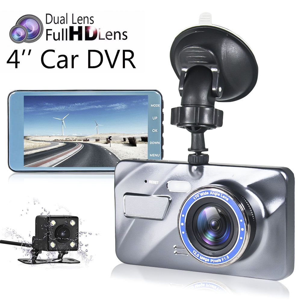 New Dual Lens Dash Cam Full HD 1080P 4 IPS Screen Car DVR Camera 170 Degree Night Vision Video Registratori Auto Dash Camera new 4 0 inch screen car dvr car camera dual lens recording dash camera full hd 1080p video 170 degree wide angle dash cam oncam