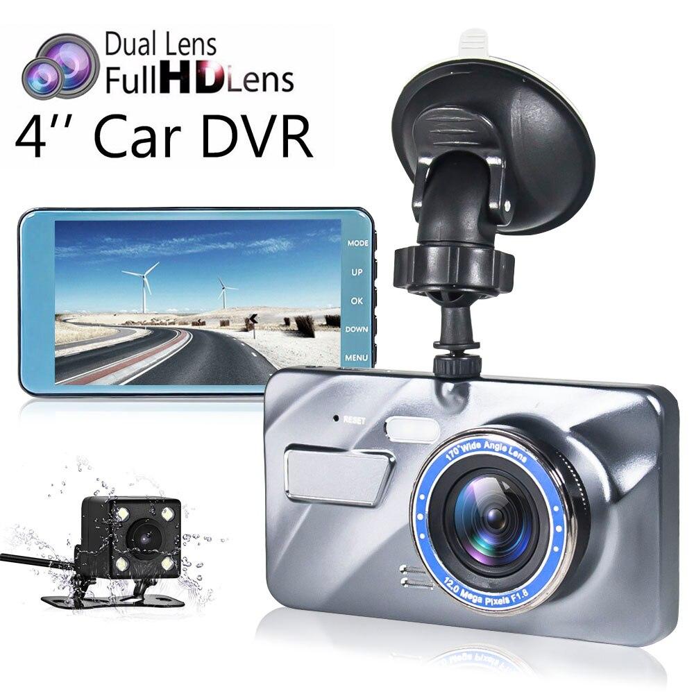 New Dual Lens Dash Cam Car DVR Camera Full HD 1080P 4 IPS Front+Rear Blue Mirror Night Vision Video Recorder Parking Monitor