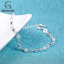 1xPc New Women Silver Plated Crystal Chain Bangle Star Cuff Charm Bracelet Charm Rhinestone Lover Heart Beads Bracelet Jewelry(China)