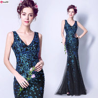 New Arrival Noble Deep V-neck Sapphire Blue Sequined Mermaid Mother Dress 650