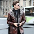 Top Fashion Winter Mens coat warm fur Leather Jackets hip length real leather jacket mens long sleeves label Collar suit coat