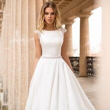 ローリーサテンウェディングドレスキャップスリーブレースアップリケビーチ花嫁のドレスセクシーな自由奔放に生きるロングトレインウェディングドレスホット販売 2019