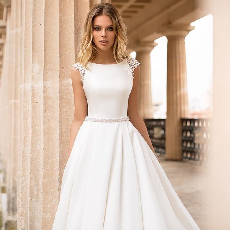 LORIE Satin Wedding Dress Cap Sleeves Lace Appliques Beach Bride Dress Sexy Boho Long Train Wedding Gown Hot Sale 2019