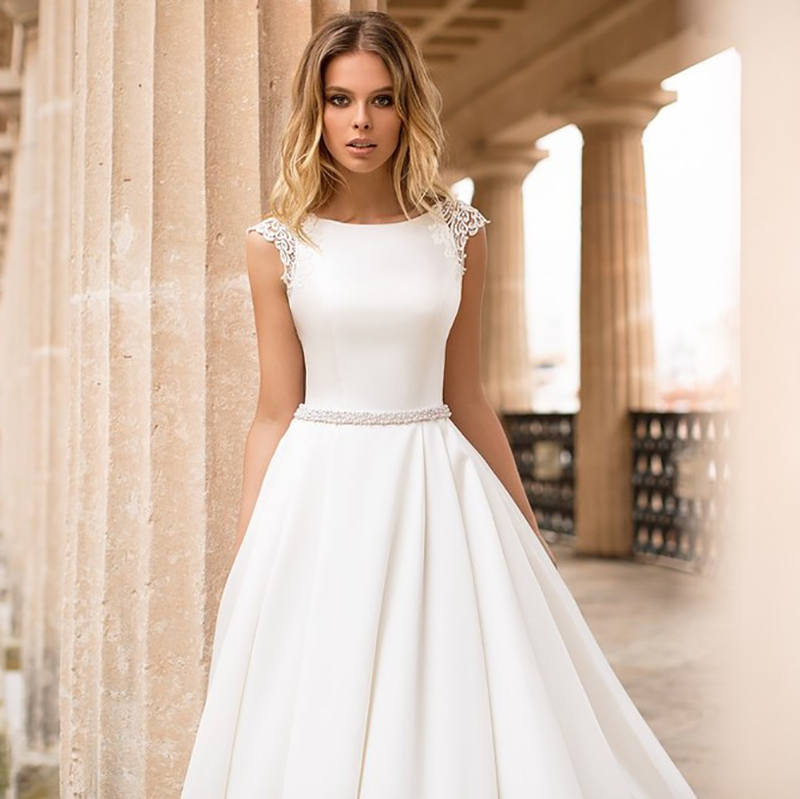 LORIE Satin <font><b>Wedding</b></font> <font><b>Dress</b></font> Cap Sleeves Lace Appliques Beach Bride <font><b>Dress</b></font> <font><b>Sexy</b></font> <font><b>Boho</b></font> Long Train <font><b>Wedding</b></font> Gown Hot Sale <font><b>2019</b></font> image